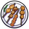 Thumbnail popup fried skewer platter